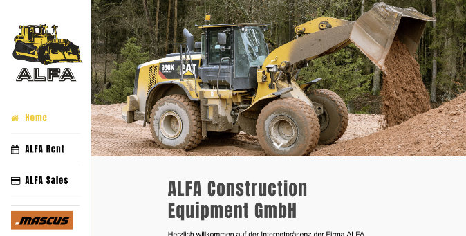 Webseite ALFA Construction Equipment GmbH