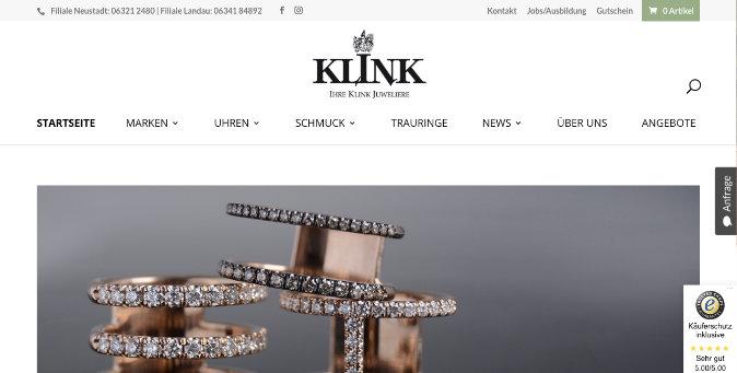 Webseite Juwelier Klink GmbH